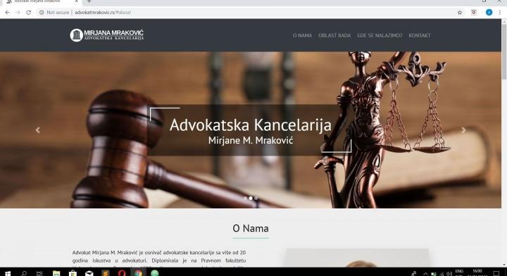 Websajt za Advokatsku kancelariju Mirjane Mrakovic